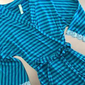 Honeydew | striped jersey robe